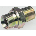 Parker Hydraulic Straight Threaded Adapter 16F3MK4S, Connector A G 1 Male, Connector B R 1 Male