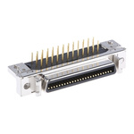 3M, 102 Female 50 Pin Right Angle Through Hole SCSI Connector 2.54mm Pitch, Solder