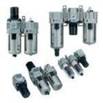 Filter + regulator + lubricator G3/8 + manual drain with drain cock + gauge + isolation valve