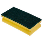 RS PRO Black, Yellow Sponge Scourer 150mm x 65mm x 40mm, for Industrial, Kitchen Use