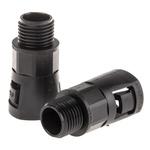 Adaptaflex M16 Straight Cable Conduit Fitting, Black 16mm nominal size