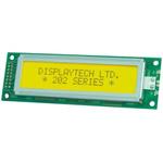 Displaytech 202A-BC-BC Alphanumeric LCD Display, Yellow on Green, 2 Rows by 20 Characters, Transflective