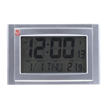 RS PRO Radio Controlled Silver Digital Wall Clock