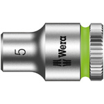 Wera 5mm Hex Socket With 1/4 in Drive , Length 23 mm