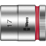 Wera 17mm Hex Socket With 3/8 in Drive , Length 30 mm