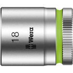 Wera 18mm Hex Socket With 3/8 in Drive , Length 30 mm