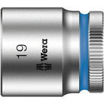 Wera 19mm Hex Socket With 3/8 in Drive , Length 30 mm