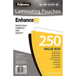 Fellowes A4 Glossy Lamination Pouch 80micron, 250