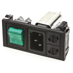 Bulgin,10A,250 V ac Male Snap-In IEC Filter 2 Pole BZV03/A0620/09 2 Fuse