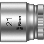Wera 21mm Hex Socket With 3/8 in Drive , Length 30 mm