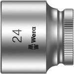 Wera 24mm Hex Socket With 3/8 in Drive , Length 32 mm