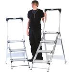 RS PRO 4 Tread Aluminium Steps 0.88m Platform Height, Silver