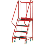 RS PRO 4 Tread Steel Steps 0.915m Platform Height, Red