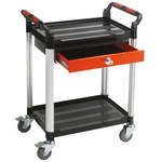 RS PRO 2 Shelf Aluminium Trolley, 630 x 424mm, 100kg Load