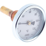 Jumo Immersion Dial Thermometer 0 → +120 °C, 608001/0163-818-913-12-104-46-46-50/000