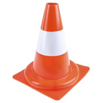 RS PRO Weighted Orange, White 300 mm PP Traffic Cone