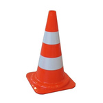 RS PRO Orange, White 490 mm PP Traffic Cone