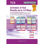 Kewtech Corporation TC5 Electrical Installation Certificate, Certificate Type Inspection & Test Schedule, For Use With