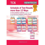Kewtech Corporation TC6 Electrical Installation Certificate, Certificate Type Inspection & Test Schedule, For Use With
