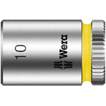 Wera 10mm Hex Socket With 1/4 in Drive , Length 23 mm
