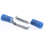 RS PRO Hooked Insulated Crimp Blade Terminal 16.8mm Blade Length, 1.5mm² to 2.5mm², 16AWG to 14AWG, Blue