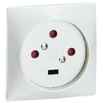 Receptacle White Wall Plate for use with Mains Connector