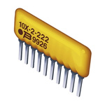 Bourns 4600X Series 10Ω ±2% Isolated Through Hole Resistor Array, 4 Resistors, 1W total SIP package Pin