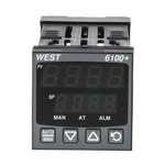 West Instruments P6100+ DIN Rail PID Temperature Controller, 48 x 48mm 1 Input, 2 Output Relay, 100 → 240 V ac