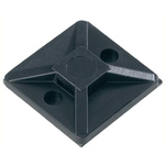 HellermannTyton Self Adhesive Black Cable Tie Mount 28 mm x 28mm, 5.6mm Max. Cable Tie Width