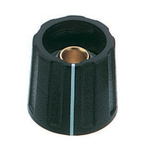 OKW Potentiometer Knob, Collet Type, 16mm Knob Diameter, Black, 6mm Shaft