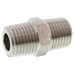 Legris Stainless Steel Hexagon Straight Coupler 1/4in R(T) Male x 1/4in R(T) Male