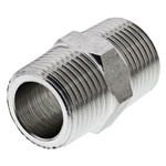 Legris Stainless Steel Hexagon Straight Coupler 3/8in R(T) Male x 3/8in R(T) Male
