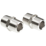 Legris Stainless Steel Hexagon Straight Coupler 1/2in R(T) Male x 1/2in R(T) Male