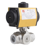 RS PRO Double Acting Actuator Valve Stainless Steel 3 Way, 1in Pipe Size