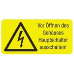 Idento Self-Adhesive Vor Öffnen des Gehäuses Hauptschalter ausschalten! Hazard Warning Sign (German)