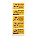 Idento Self-Adhesive ACHTUNG! Bei ausgeschaltetem Hauptschalter unter Spannung Hazard Warning Sign (German)