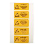 Idento Self-Adhesive ACHTUNG! Vor dem Öffnen Netzstecker ziehen! Hazard Warning Sign (German)