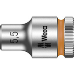 Wera 5.5mm Hex Socket With 1/4 in Drive , Length 23 mm