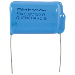 Cornell-Dubilier RC Capacitor 500nF 150Ω Tolerance ±20% 250 V ac, 600 V dc 1-way Through Hole Q Series