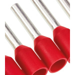 TE Connectivity Insulated Crimp Bootlace Ferrule, 8mm Pin Length, 1.5mm Pin Diameter, 1mm² Wire Size, Red