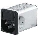 Male C14 IEC Filter Snap-In,Solder,Rated At 1A,250 V ac