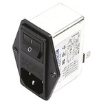 Deltron,4A,250 V ac/dc Male Panel Mount IEC Filter 2 Pole RIP0442H2,Tab 1 Fuse