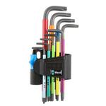 Wera 9 Piece L Shape Torx Key Set TX10 x 85 mm, TX15 x 90 mm, TX20 x 96 mm, TX25 x 104 mm, TX27 x 112 mm, TX30 x 122