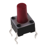 Red Button Tactile Switch, Single Pole Single Throw (SPST) 50 mA @ 24 V dc 5.9mm