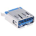 Amphenol ICC USB Connector, Through Hole, Socket 3.0 A, Solder, Straight- Single Port