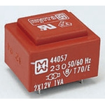 15V ac 2 Output Through Hole PCB Transformer, 1VA