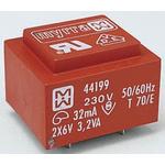 6V ac 2 Output Through Hole PCB Transformer, 3.2VA