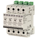 Bourns 1210 Series 150 V Maximum Voltage Rating 100kA Maximum Surge Current 4 Pole Protector, DIN Rail Mounting
