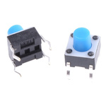 Blue Button Tactile Switch, Single Pole Single Throw (SPST) 50 mA @ 24 V dc 3.4mm