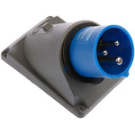 Legrand, HYPRA IP44 Blue Panel Mount 2P+E Right Angle Industrial Power Plug, Rated At 16.0A, 230.0 V